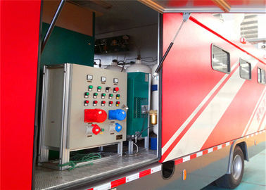 Cina 8000x2200x3400mm Dimension Fire Brigade Truck, Rated Output Daya 50KW Fire Equipment Truck Distributor
